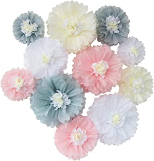 Mybbshower Elegant Nursery Paper Flowers Blush Grey Girls First Birthday Party Wall Decoration Backdrop Photo Prop Pack of 12