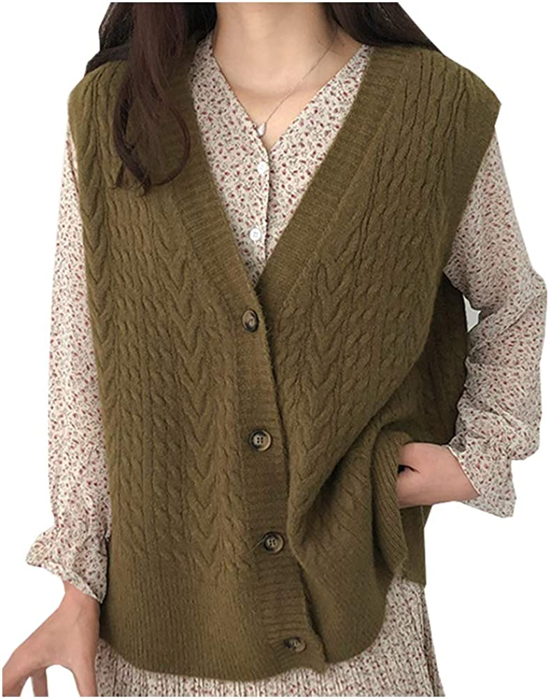 Ladyful Women's Sleeveless Knitted Cardigan Button Down V Neck Sweater Vest Coat