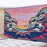 Tapiz 3D Bosque Tapiz de Ola de mar Sala de Estar Tapiz de Dormitorio impresión de Tela Decorativa de Pared Tapiz de Ola de océano