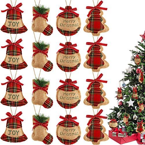 16 Pieces Christmas Tree Stocking Ornaments Xmas Hanging Decoration Stockings Burlap Christmas Ornaments for Xmas Hanging Ornaments Decorations (Color Set 3)