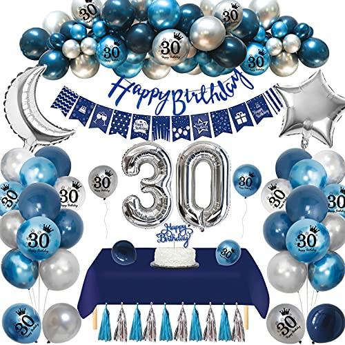 Globos 30 Cumpleaños,APERIL 30 Años 30th Decoraciones Cumpleaños para Hombres,Globo Azul Marino Globos de Plateados Azul Impresos,Globo Papel Aluminio Pancarta Feliz Cumpleaños Manteles