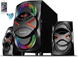 Boytone BT-326F, 2.1 Bluetooth Powerful Home Theater Speaker System, with FM Radio, SD USB Ports, Digital Playback, 40 Watts, Disco Lights, Full Function Remote Control, for Smartphone, Tablet.