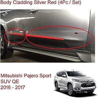 Powerwarauto Set Body Cladding Silver Red Painted Lh Rh for Mitsubishi Pajero Montero Sport SUV Medium Silver Medium Silver