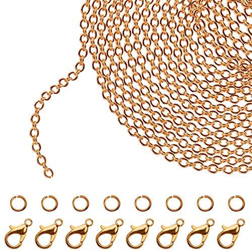 Kurtzy Cadena de Eslabones Dorada para Hacer Joyas 10 m x 2,5 mm Cadenas para Collares de Hierro, 30 Pinzas de Langosta y 30 Anillas Abiertas - Kit para Hacer Pulseras, Colgantes, Hombre y Muj