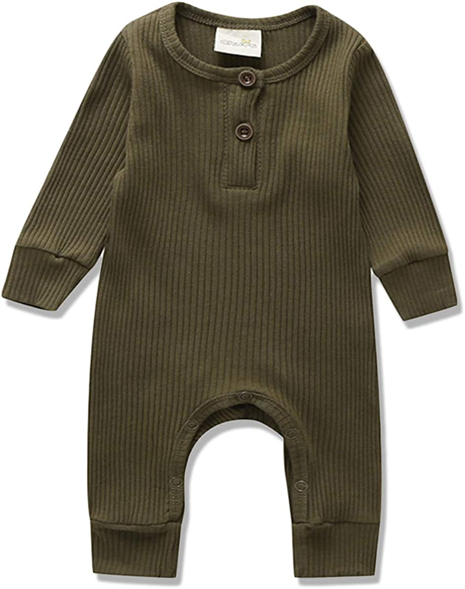 Newborn Baby Boys OFFicial Girls Long Jumpsuit Solid Limited Special Price Button Romper Sleeve