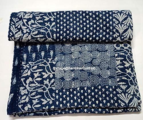 送料無料(一部地域を除く) Sambhav Quilt Hub Blue Indigo 限定価格セール Print Handmade Cotton Qu Handblock