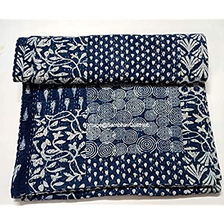 Natural Color Hand Block Print Kantha Quilt Handmade Queen Size Kantha Blanket Bohemian Kantha Bedspread Vegetable Dyed Cotton Kantha Throw