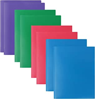 Plastic Folders with 2 Pockets and 3 prongs,8 Pack Multicolor Plastic Two Pocket Folders with Prongs and Card Holder, 2 Pocket Plastic folders for School, Home, and Work, 8 Pack Plastic Folders