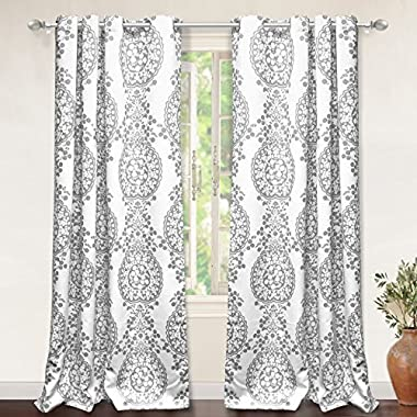 "DriftAway Samantha Thermal/Room Darkening Grommet Unlined Window Curtains, Floral/Damask Medallion pattern, Set of Two Panels, each 52""x84"" (gray)"