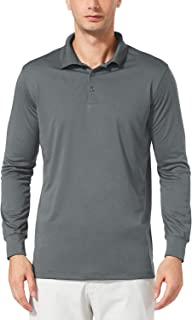 Men's UPF 50+ Golf Polo Shirt Performance Quick Dry Golf Solid Polo Active Workout Shirt