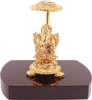 Msa Jewels Gold Plated Ganesh Idol with Velvet Cover Box for Diwali Pooja, Gift and Home Decor- (75 GMS)