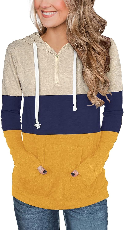 LASLULU Womens Zip Up Hoodie Color Block Casual Tops Long Sleeve Tunics Drawstring Pullover Sweatshirts with Pocket