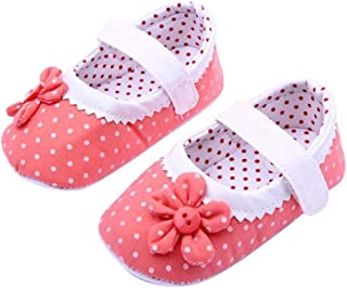Baby Girl Cloth Soft Sole Round Dot Prewalker Mary Jane Shoes With Flower
