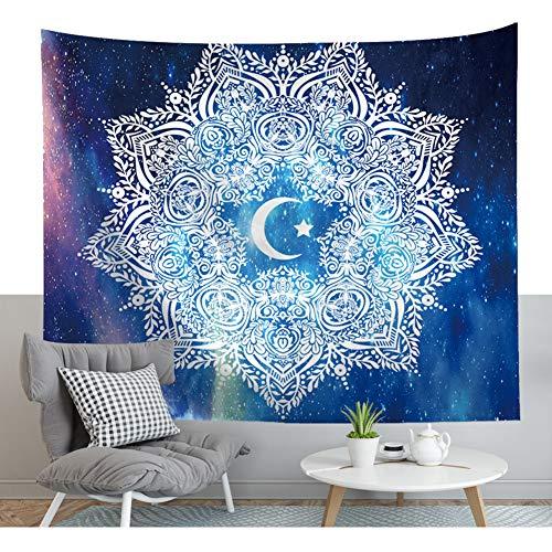 Tapisserie murale ethnique Mandala Lune Lotus Totem - Coloré - Motif étoiles - Galaxie - Boho - Énergie cielle - Fleurs géométriques - Décoration murale 79 * 59in Motif 2