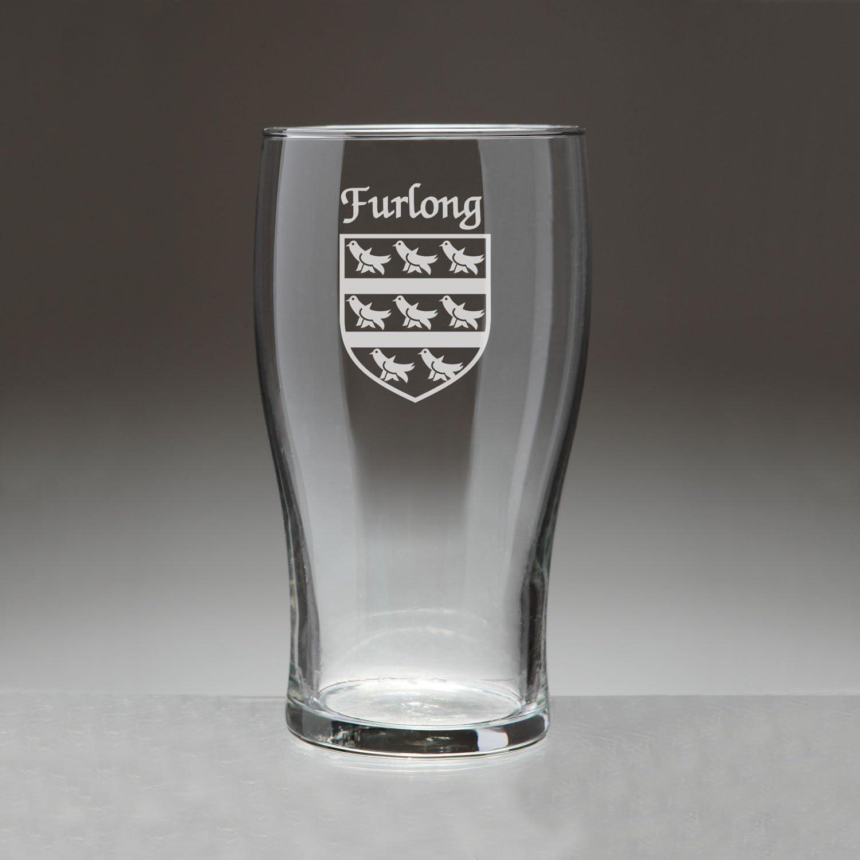 Furlong Irish Coat of Arms Under blast sales Tavern - Etche Free shipping 4 Set Glasses Sand