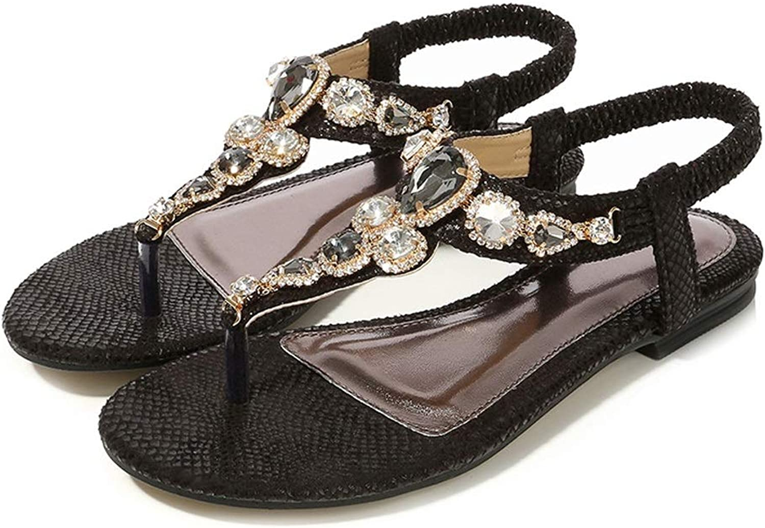 ZHAO YELONG Fashion Flat Women's shoes Retro Summer Rhinestone Sandals