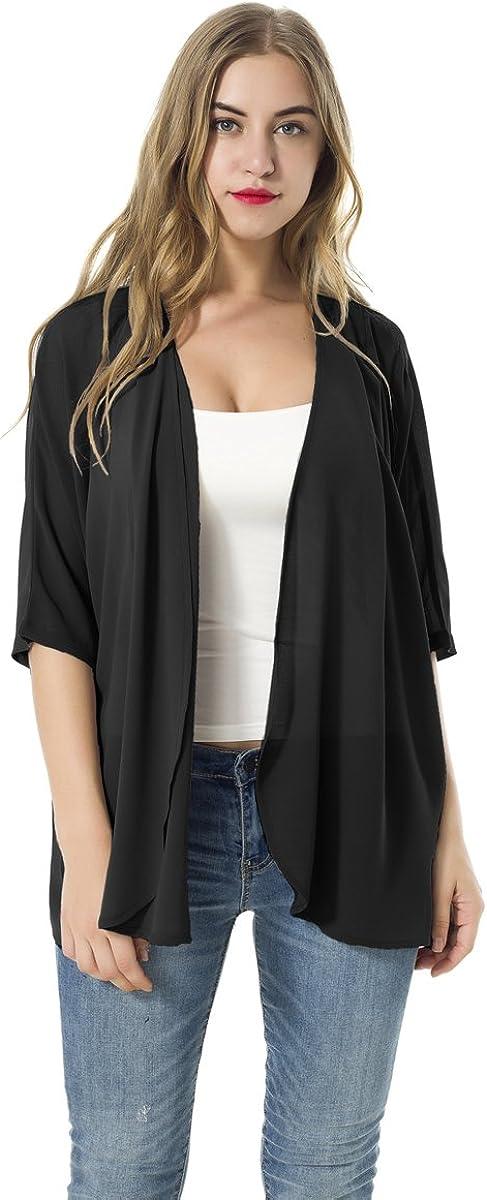 Women's Short Sleeve Beachwear Sheer Chiffon Kimono Cardigan Solid Casual Capes Beach Blouse Summer Cover Ups