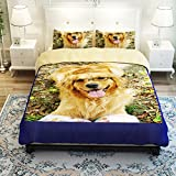 MeMoreCool Home Textile New Cute Dogs Thicken Brushed Bedding Sets Pet Dogs Duvet Cover Boys and Girls Bed Sheets Fade, Stain Resistant - 3 Pieces (Twin)