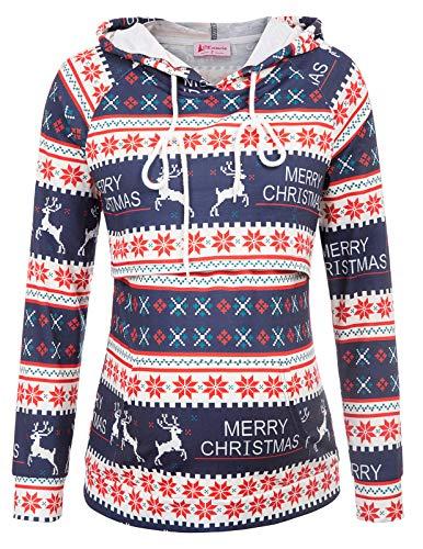 Maternité Allaitement Grossesse Sweat Shirt Pull Capuche Flocon de Neige Noël Christmas Cadeuax Pullover Chaud M MCH4-1