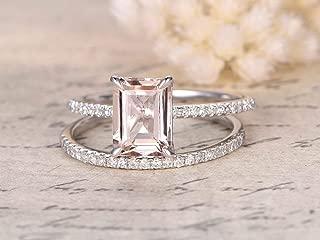 2 Carat emerald cut Morganite and Diamond Wedding Bridal Ring Set On White Gold with Engagement Ring and Matching Diamond Wedding Band