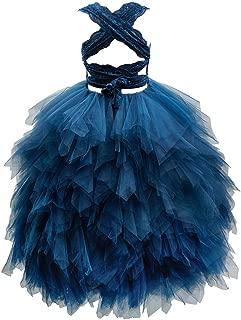 Backless Lace Tulle Ruffle Wedding Flower Girl Dress Junior Bridesmaid Dress