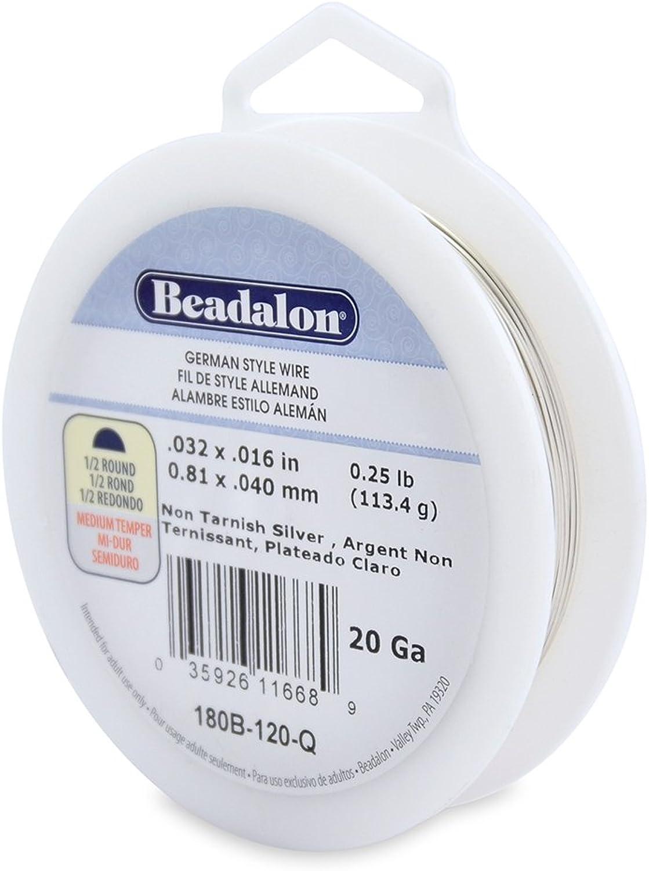 Beadalon 20Gauge Tarnish Resistant Silver Plate Half Round Wire, 1 4Pound