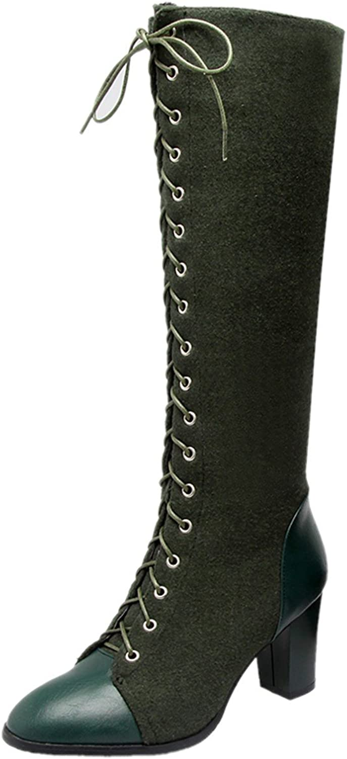 Rongzhi Womens Mid Calf Boots Block Heels Chunky Lace Up Zip Motorcycle Combat Mid-Calf Boots