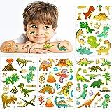 Qpout - Juego De Tatuajes De Dinosaurios Con Purpurina Metálica, Tatuajes Temporales De Dinosaurios Falsos Para Niños, Pegatinas De Fiesta Para Niños, Bolsas De Regalos Para Niños