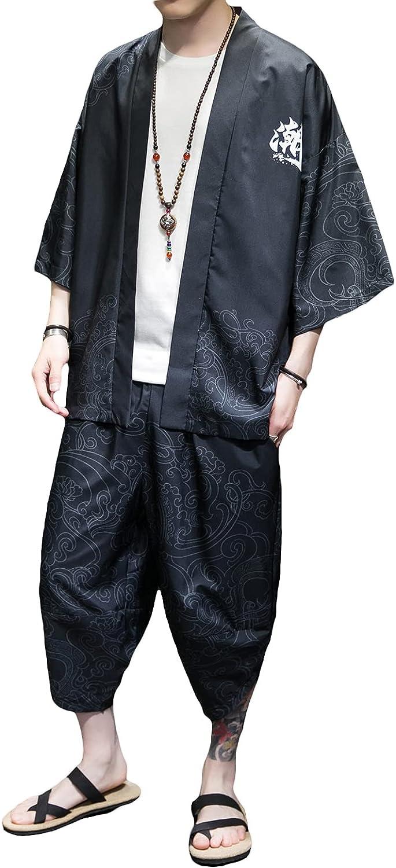 100%品質保証 PRIJOUHE Men's Japanese Style Kimono Sets ◇限定Special Price Lightweight Pants Tops