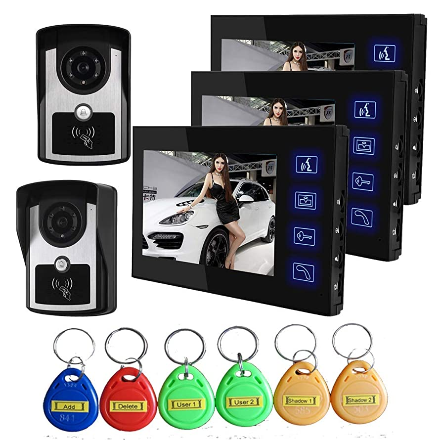 TQ 7 inch Intelligent Video doorbell Remote intercom Access Control System HD 1000TVL Infrared Camera,C