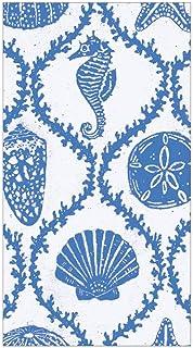 Caspari Seychelles Paper Guest Towel Napkins in Blue - Four Packs of 15