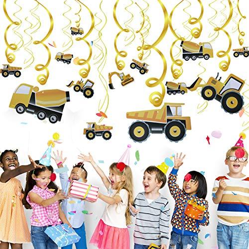Phogary Bau Geburtstag Party Dekorationen Wirbel und Spirale Lieferungen (30pack), Kindergeburtstag Startseite Decke Hängend Wand-Dekor für Dumper Truck Car Zone unter dem Motto Party Favors Dekor