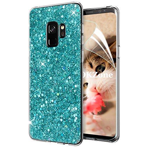 OKZone Funda Samsung Galaxy S9, Cárcasa Brilla Glitter Brillante TPU Silicona Teléfono Smartphone Funda Móvil Case [Compatible con Carga Inalámbrica] para Samsung Galaxy S9 (Verde)