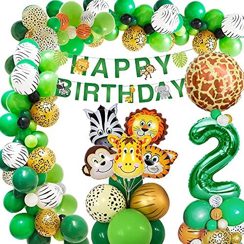 AcnA Selva Decoración Cumpleaños Niño 2 año, Selva Globos Fiesta Cumpleaños niño 2 año with Safari Decoracion Cumpleaños Animales Globos para Infantil Niño 2 Jungla fiesta de cumpleaños Reutilizable