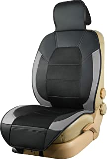 CAR-GRAND Universal Fit 1 Piece Sideless Car Seat Cushion,Seat Cover with PU Leather and Breathable Spacer Mesh,Airbag Com...