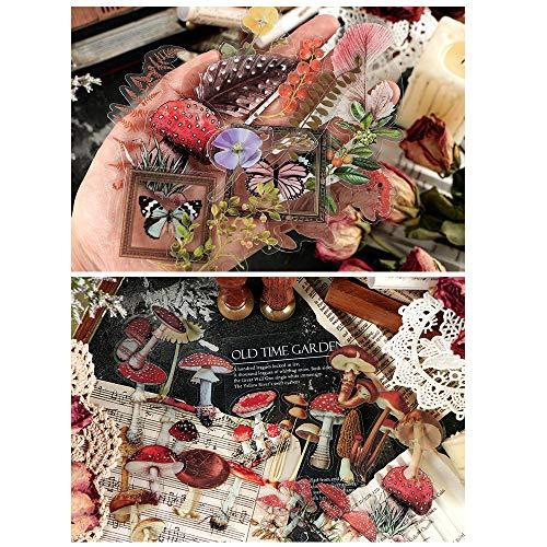 Scrapbooking Sticker, Lychii 240pcs PVC Dekoration Aufkleber mit Natürliche Pflanzen & Blumen, Vinatge Design Klebende Aufkleber für Craft Scrapbook-Album, Kalenderplaner, DIY, Bullet Journal