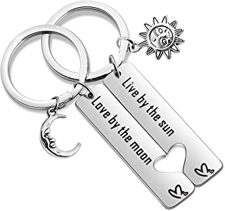 SEIRAA Live by The Sun Love by The Moon Keychain Set of 2 Moon Jewelry Gift for Couple