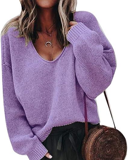 LPxdywlk Otoño Mujer Casual Color Sólido Cuello En V Manga Larga Blusa Jersey Suéter Top Coat Púrpura LNone
