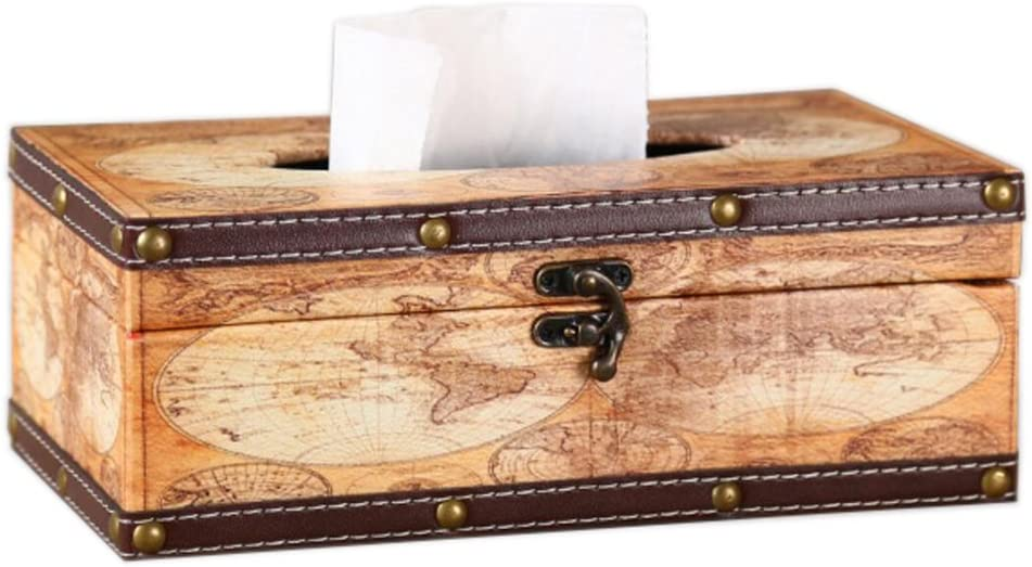 Vintage OFFicial shop World Map Max 54% OFF Wooden Tissue Box Decorative Cover Rectangular