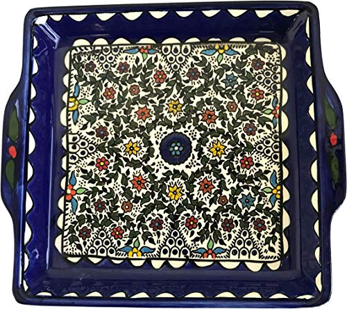 Holy Land Market Armenian Ceramic Jerusalem Flowers square Bread/Matzah Seder Plate - 9.5 Inches - Asfour Outlet Trademark