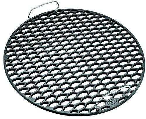 RÖSLE Gussrost RS, Hochwertiger Grillrost aus emailliertem Gusseisen mit Wabenmuster für Grillbranding, Edelstahlgriffe, 50 cm