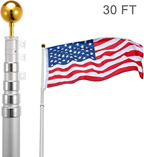 Voilamart 30ft Flagpole Telescopic 6 Sectional Fly 2 Flags, Outdoor Aluminum Flag Pole Kit with The American Flag, Great for Residential or Commercial