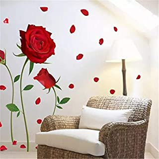 sudumaiba Can Remove The Wall Stickers Romantic red Roses The Sitting Room The Bedroom Home Decoration Wall Stickers