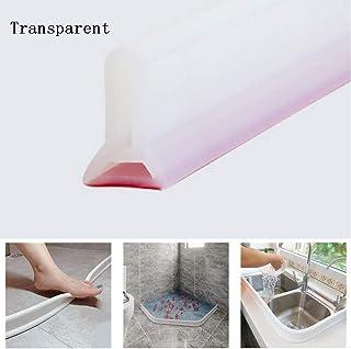 SAVEH Barrera de Agua de Silicona, Cinta autoadhesiva Impermeable para Cocina, baño, Ducha, separación Seca y húmeda (Transparent,80cm)