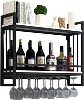 Hanging Wine Glass Holder | Wine Racks Wall-Mounted Wood Metal | Wine Shelf with Glass Holder | Suspended Wine Bottle Hold...