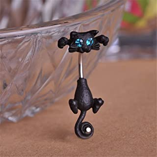New Style Navel Ring 316L Surgical Steel Piercing Belly Button Rings Beautiful Cat Navel Piercing Sex Body Jewelry Black Gun Plated