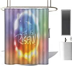 MKOK Extra Long Shower curtain72 x78 Colorful,He Has Risen Theme Quote with Abstract Colorful Fantasy Dreamlike Composition Multicolor,Graphic Print Polyester Fabric Bathroom Decor Sets