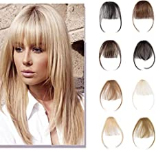 Clip In Human Hair Bangs Natural Real Human Hair Extensions Front Full Neat Air Bangs With Temple One Piece Clip On Hairpiece Flat Fringe Bangs Hand Tied Straight For Women #613 Bleach Blonde 3g