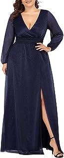 Ever-Pretty Women's Leg Slit V-Neck Sparkle Plus Size Evening Party Dress with Sleeves 0739-PZ