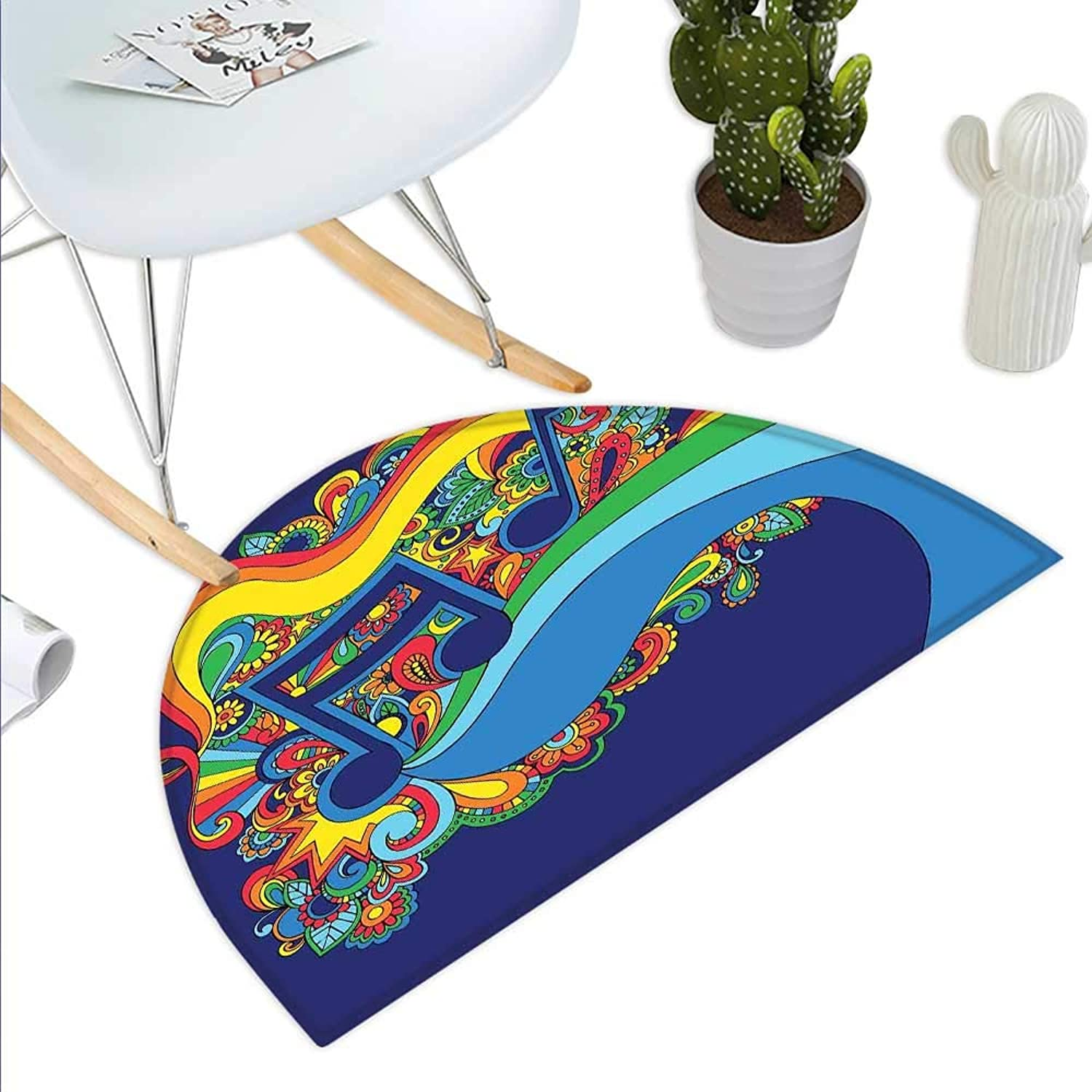 Music Semicircle Doormat colorful Sixties Inspired Floral Composition with Notes on a bluee Toned Background Halfmoon doormats H 43.3  xD 64.9  Multicolor